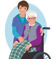 Elderly woman and nurse vector image vector image