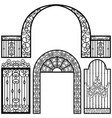 entrance gate door fence vintage retro ancient vector image vector image
