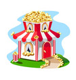 fabulous house made of popcorn with a striped roof vector image