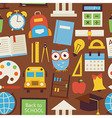 Flat Seamless Pattern Back to School and Education vector image vector image