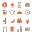 Food orange icons set on white background vector image