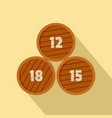 group of wooden barrel icon flat style vector image