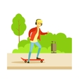 Guy In Headphones On Skateboard On The Street vector image