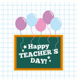 happy teacher day card chalkboard and balloons vector image