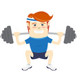 Hipster funny man squatting with barbell Flat vector image vector image