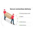 isometric delivery man holding cardboard boxes in vector image
