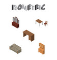 isometric design set of chair drawer table and vector image vector image
