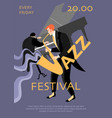 jazz festival banner with saxophonist and pianist vector image