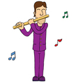 Man playing flute vector image vector image