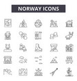 norway line icons signs set outline vector image vector image