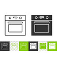 oven simple black line icon vector image vector image