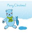 polar bear wishes all a merry christmas vector image vector image