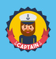 portrait captain or sailor boat nautical badge vector image