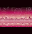 seamless cityscape with celebration fireworks vector image
