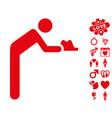 servant icon with lovely bonus vector image