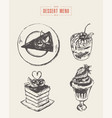 set dessert design elements menu hand drawn vector image