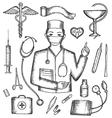 set medical supplies hand-drawn vector image