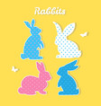 set of colorful rabbits silhouette paper vector image
