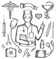 Set of medical supplies hand-drawn vector image vector image