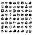 Shopping set flat black icons vector image