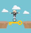 single wheel bicycle key concept of people vector image vector image