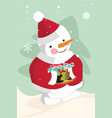snowman carrying christmas gifts vector image vector image