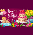valentines day cupid angel flowers cake and gift vector image