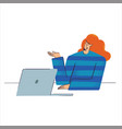 woman with laptop in hands business people vector image