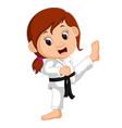 cartoon girl practicing karate vector image