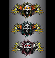punk cyber human skull with pistols and fire flame vector image