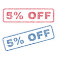 5 percent off textile stamps vector image vector image