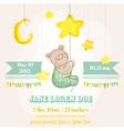 baby boy arrival card - bear with moon vector image vector image