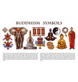buddhism religion symbols and characters vector image