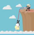 business helping each other to climb mountain vector image