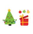 cartoon christmas tree balls gift character vector image vector image