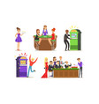 cheerful men and women playing roulette cards and vector image