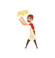 chef tossing dough in the air pizza maker vector image vector image