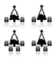 Christmas tree with presents icons set vector image