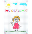 colorful pencil hand drawing of grandmother vector image vector image