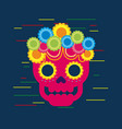 day of the dead skull with floral ornament blue vector image vector image