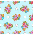 doodle pattern fancy flowers and circles on blue vector image vector image
