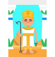 egyptian pharaoh with scepter and ankh cross in vector image vector image