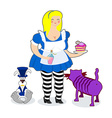 Fat old Alice in Wonderland Mythical Cheshire cat vector image