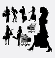 Female people shopping silhouettes vector image