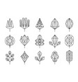 geometrical leaves of trees big set collection of vector image