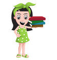 Girl holding books on white background