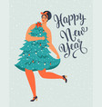 girl in christmas tree dress forms christmas and vector image