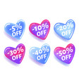 glossy heart shaped discount stickers for design vector image vector image