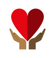 hands and cartoon heart icon image vector image vector image