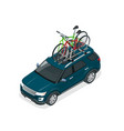 isometric suv car with two bicycles mounted on the vector image vector image